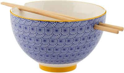 Typhoon Suppenschale, Steingut, (1-tlg), für die Asia Küche, inkl. Stäbchen, Ø 16 cm