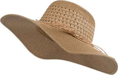 styleBREAKER Sonnenhut »Großer Sonnenhut mit Hutband und Schleife Strohhut« Großer Sonnenhut mit Hutband und Schleife Strohhut