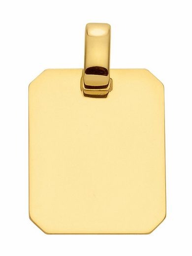 Adelia´s Kettenanhänger »585 Gold Gravurplatte Anhänger«, Goldschmuck für Damen