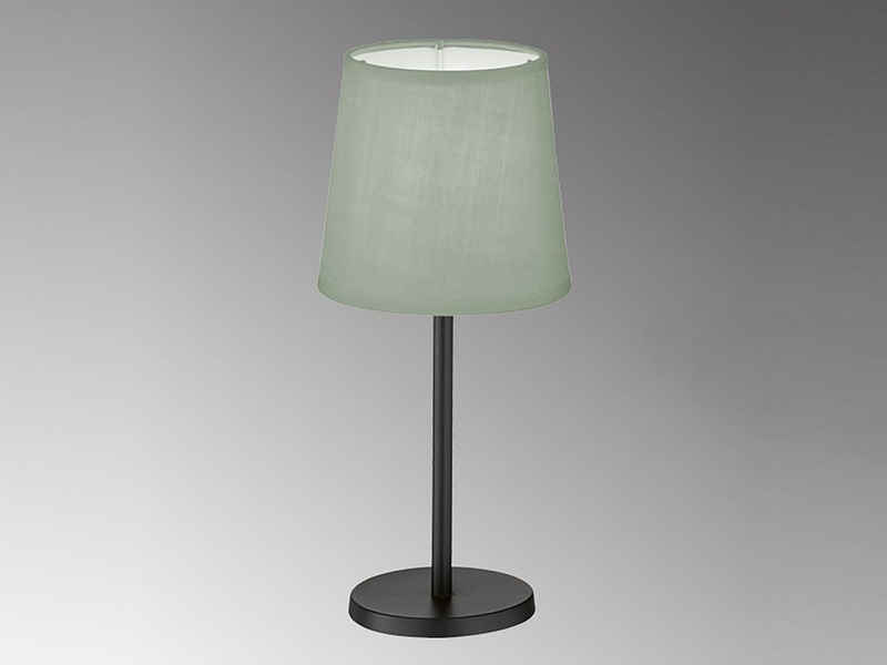 FHL easy! LED Nachttischlampe, kleine Stoff-Lampe Schwarz Lampenschirm Grau rund – Designklassiker für die Fensterbank
