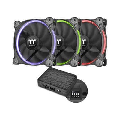 Thermaltake Gehäuselüfter »Riing 14 RGB-LED Gehäuselüfter TT Premium Edition 3er Set«, Schwarz, 140 mm