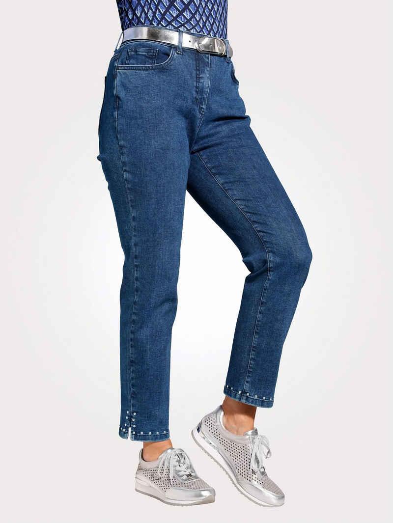Mona Comfort-fit-Jeans mit modischem Nietenzier am Saum