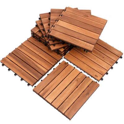 Einfeben Holzfliesen »1m² oder 5m² Akazienholz Mosaik Fliese Balkonfliesen Terrassenfliesen Gartenfliesen für Garten Terrasse Balkon«, Holzoptik, Klicksystem
