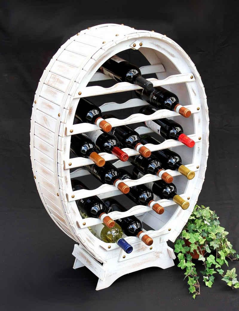 DanDiBo Weinregal »Weinregal Weiss Weinfass aus Holz für 24 Flaschen Vintage Shabby Chic Landhaus Bar Flaschenständer stehend Weinständer Fass«