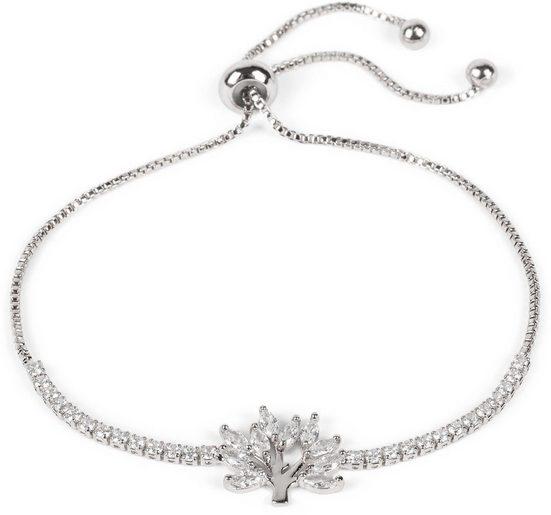 styleBREAKER Armkette »Slider Armkette mit Lotusblüte und Strass«, Slider Armkette mit Lotusblüte und Strass