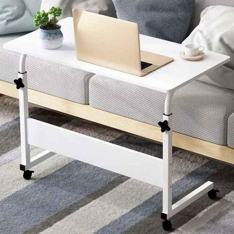 Masbekte Schreibtisch, Laptoptisch, Beistelltisch, Betttisch, Sofatisch, Pflegetisch, höhenverstellbar Notebooktisch, Gestell aus Metal, Rollen mit Bremse