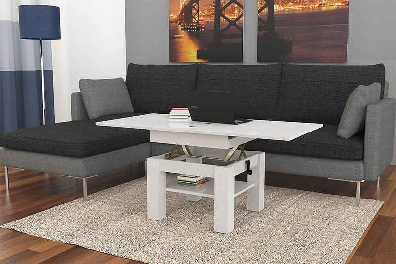 Mazzoni Couchtisch »Design Couchtisch Tisch Cleo Weiß Hochglanz stufenlos höhenverstellbar 57 - 69cm aufklappbar 75 / 150cm Esstisch«