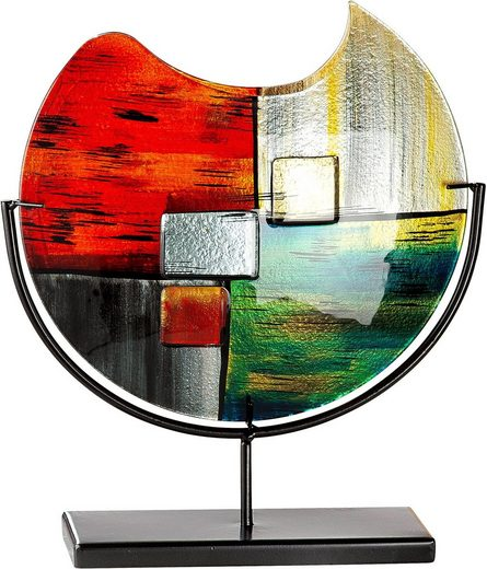 GILDE GLAS art Dekovase »Mirano«, handbemalt mit Fusingglas-Elementen