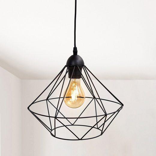 B.K.Licht Pendelleuchte, LED Hängeleuchte Hängelampe Draht Vintage Retro exkl. E27 Metall schwarz