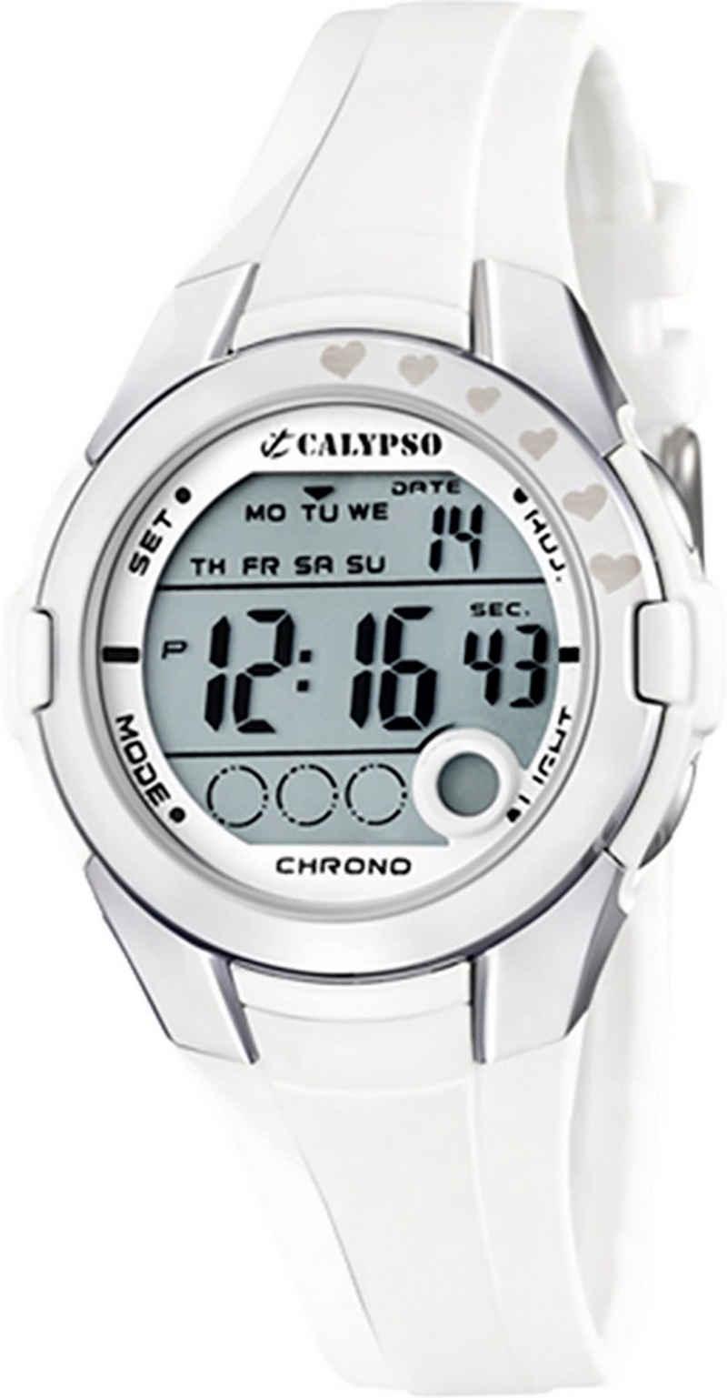 CALYPSO WATCHES Digitaluhr »UK5571/1 Calypso Kinder Uhr K5571/1 Kunststoffband«, (Digitaluhr), Kinder Armbanduhr rund, Kunststoffarmband weiß, Casual