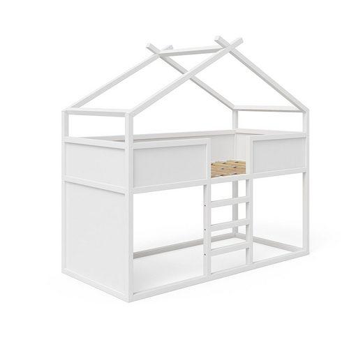 VitaliSpa® Kinderbett »Hochbett MERLIN - Spielbett Erle weiß Jugendbett Hausbett«