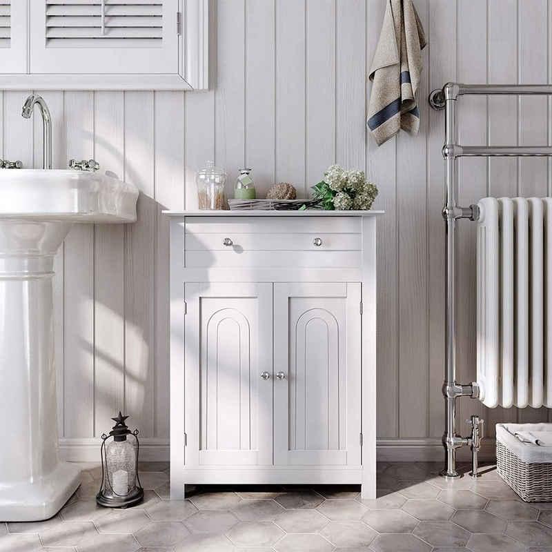 VASAGLE Badkommode »BBC61«, Badezimmerschrank, mit Schublade und verstellbarem Zwischenfach, Landhausstil, 60 x 30 x 80 cm, weiß