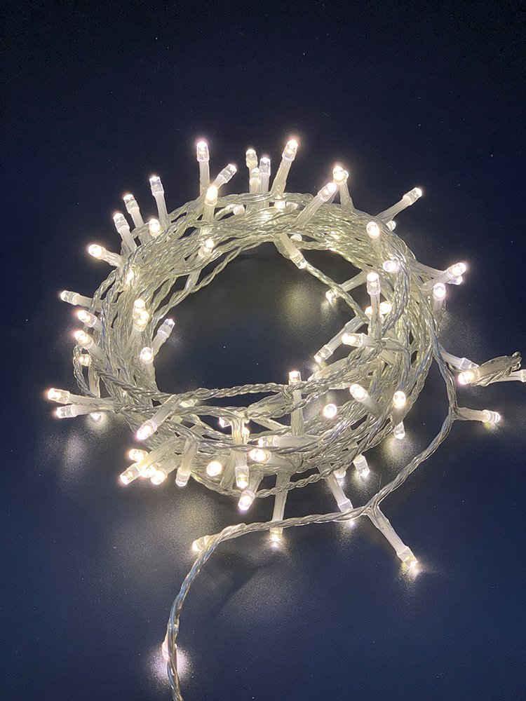 Natsen LED-Lichterkette, Natsen 100er LED Lichterkette 3M Lichterketten Weiss 8 Leuchtmodi für Indoor & Outdoor Wasserdicht IP44, Lichterkette für Party Weihnachten Hochzeit Garten