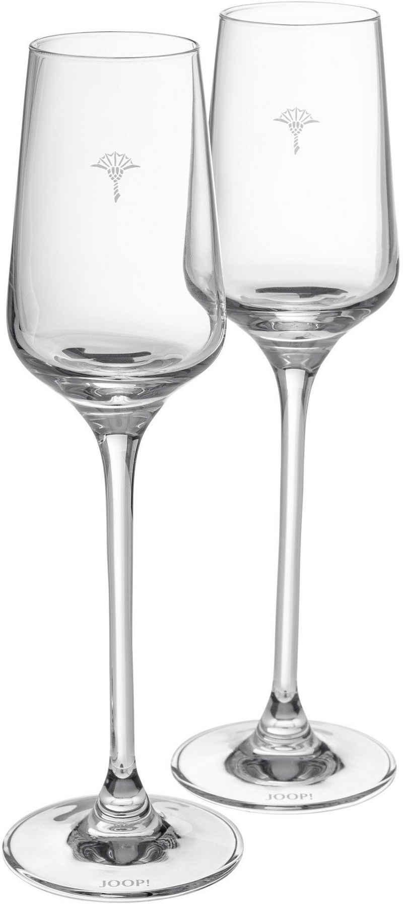 Joop! Digestifglas »JOOP! SINGLE CORNFLOWER«, Kristallglas, mit einzelner Kornblume als Dekor, 2-teilig