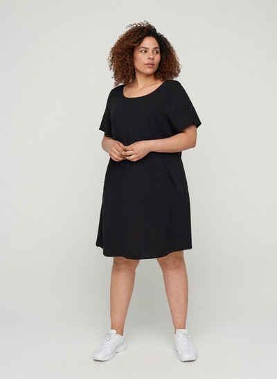 Zizzi Sommerkleid Große Größen Damen Kurzarm Kleid aus Viskose mit A-Linie