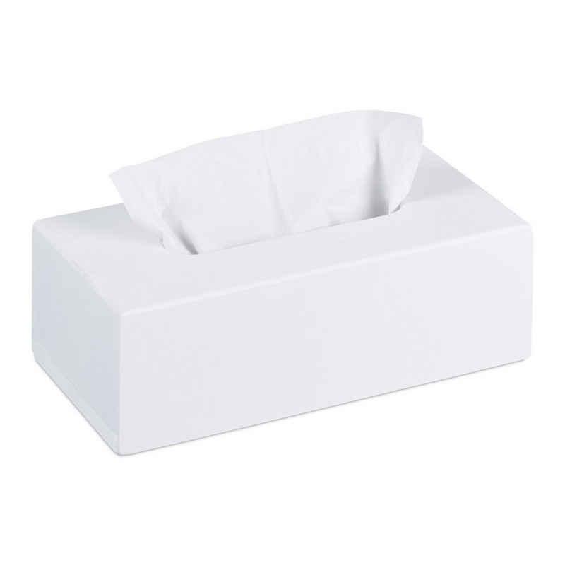 relaxdays Kosmetikbox »Bambus Tücherbox weiß«