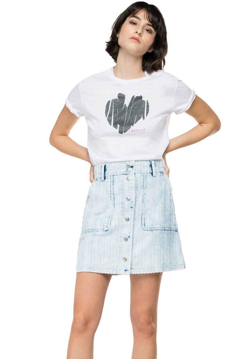 Replay T-Shirt mit Herz-Print