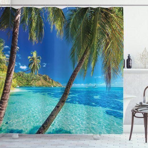 Abakuhaus Duschvorhang »Moderner Digitaldruck mit 12 Haken auf Stoff Wasser Resistent« Breite 175 cm, Höhe 200 cm, Tropisch Palmen, Meer, Strand
