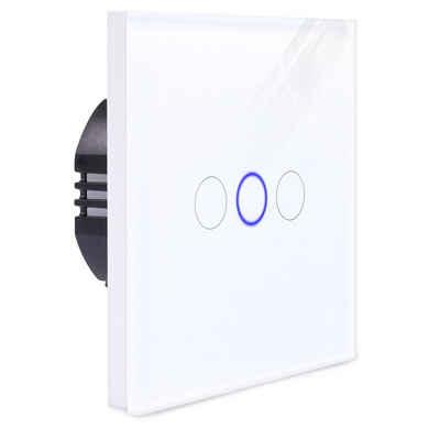 Navaris Lichtschalter, 3-fach Touch Wandschalter - mit Montagematerial Glas Panel und Status-LED - Licht Schalter innen außen - Einbauschalter