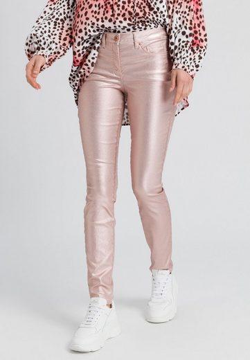MARC AUREL 5-Pocket-Jeans in Metallicoptik