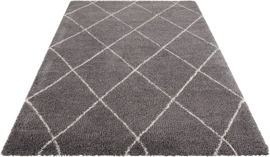 Hochflor-Teppich »Belle«, Leonique, rechteckig, Höhe 35 mm, Rauten Design, weiche Haptik, Wohnzimmer