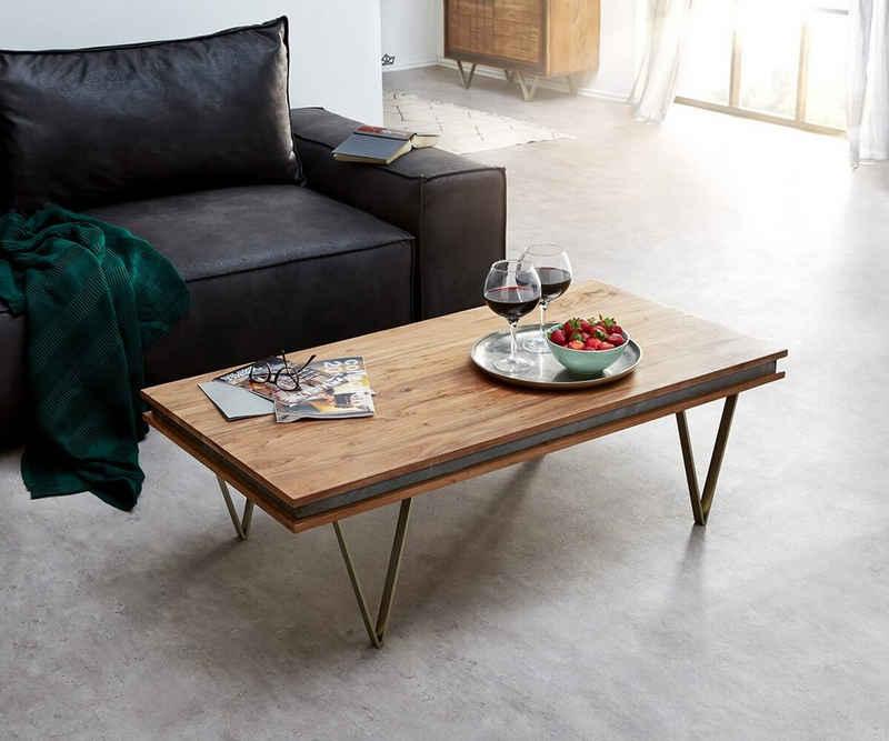 DELIFE Couchtisch »Stonegrace«, Akazie Natur Schiefer 117x60 Steinfurnier Designer Couchtisch