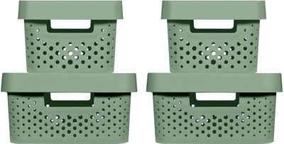 Curver Aufbewahrungsbox »Infinity Recycling« (Set, 4 Stück), mit Lochmuster 2x (4,5L+11L) und Deckel
