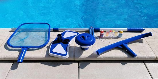 CARIBIC Pool »REINIGUNGS-SET Poolbürste Pooltester Thermometer Stange Chlordosierer Pool Starterset für Ihre Poolsaison 2021« (9-tlg)