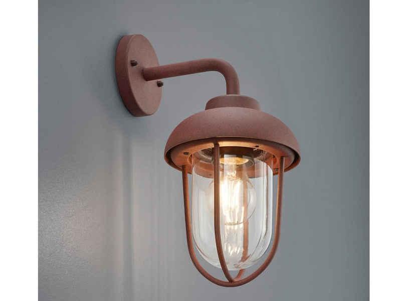meineWunschleuchte LED Außen-Wandleuchte, Vintage Wand-Laterne, Fassaden-Beleuchtung, für Hauswand, draußen, Terrasse, Rost-Optik, Industrial