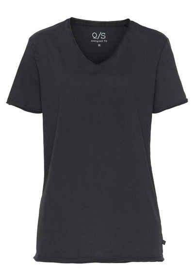 Q/S by s.Oliver V-Shirt mit modischen Rollkanten