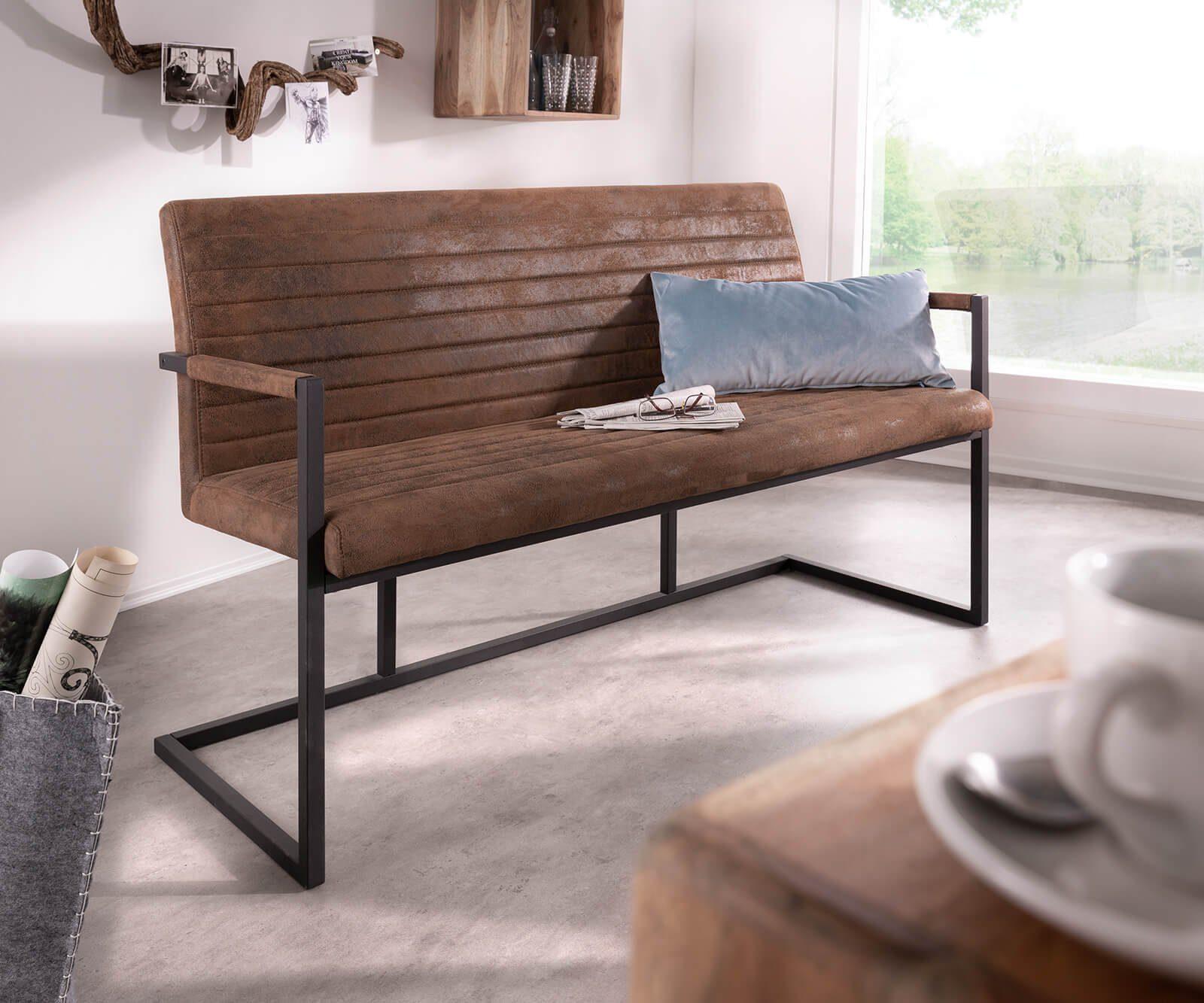 DELIFE Essbank »Earnest«, Braun Vintage 140 cm mit Armlehne Gestell Metall Sitzbank online kaufen | OTTO