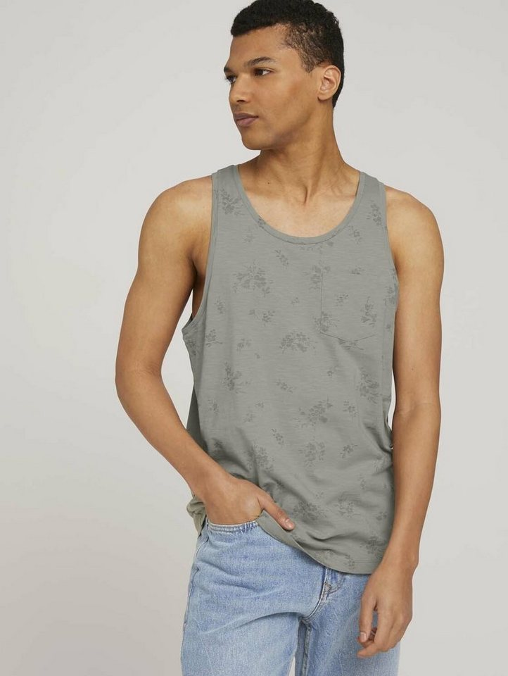 tom tailor denim -  Kurzarmshirt »gemustertes Tanktop mit Bio-Baumwolle«