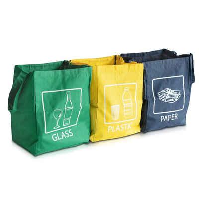 Navaris Mülltrennsystem, 3er Set Recycling Taschen für Mülltrennung - Glas Plastik Papier Stoffbeutel - Mülltrennungssystem sehr stabil - 45x32x32cm pro Tasche