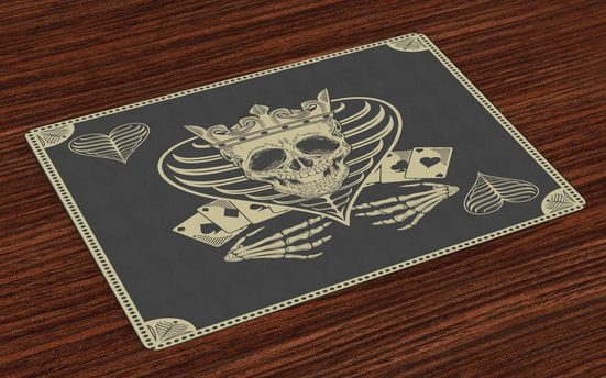 Tischdecke, »Waschbare Stoff Esszimmer Küche Tischdekorations Digitaldruck«, Abakuhaus, (4-teilig, 4 Teilig-St., Set aus 4x), Schädel Vector Schädel Poker-Karten