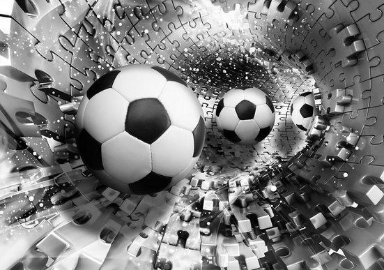 CONSALNET Vliestapete »Fußbälle in 3D Puzzle«, verschiedene Motivgrößen