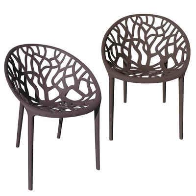 TRISENS Gartenstuhl (2 Stück), Gartenstuhl Kunststoff Stapelstuhl Bistrostuhl Küchenstuhl Stuhl Stapelbar