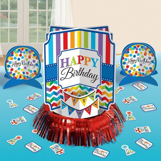 Amscan Papierdekoration »Tischdeko-Set Bright Birthday, 23-tlg.«