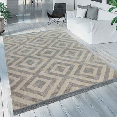 Teppich »Poco 821«, Paco Home, rechteckig, Höhe 7 mm, Rauten Design, mit Fransen, In- und Outdoor geeignet, Wohnzimmer