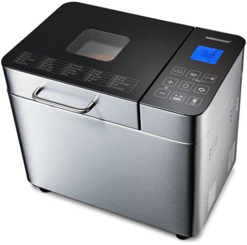 Medion® Brotbackautomat MD 10241, 25 Programme, 650 W, 25 Programme, Edelstahlgehäuse