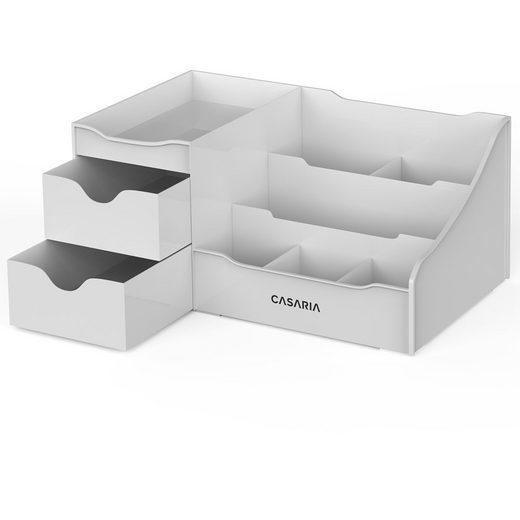 Casaria Aufbewahrungsbox, Organzier Kosmetik Make up Aufbewahrung • 2 geräumige Schubladen • ausreichend Stauraum • einfach zu reinigen • spülmaschinengeeignet • grau