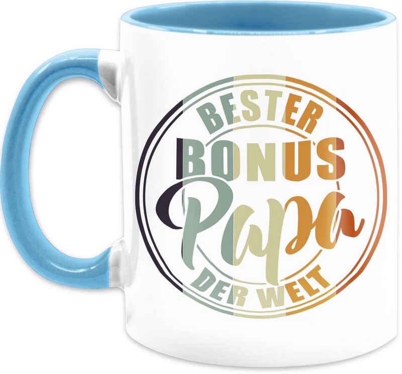 Shirtracer Tasse »Bester bonus Papa der Welt - bunt - Vatertag Kaffeetasse - Tasse zweifarbig«, Keramik, Vater Geschenk Papa Teetasse