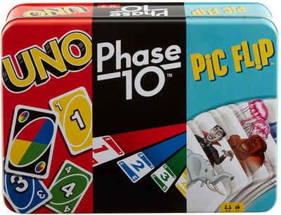 Mattel games Spielesammlung, »Kartenspiel-Klassiker in Metalldose: UNO, Phase 10, Pic Flip«