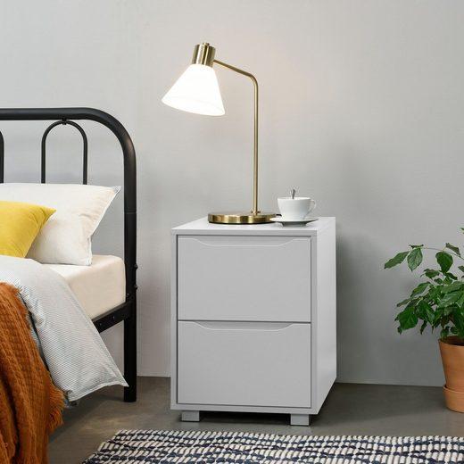en.casa Nachttisch, »Hällefors« Nachtkonsole Nachtschrank mit 2 Schubladen weiß