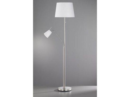 FISCHER & HONSEL LED Stehlampe, Designklassiker mit Leselampe & Stoff-Schirm, große stehende Lampe mehrflammig Silber mit Lampenschirm Weiß zum Lesen für Wohnzimmer, Loft & hinter Sofa