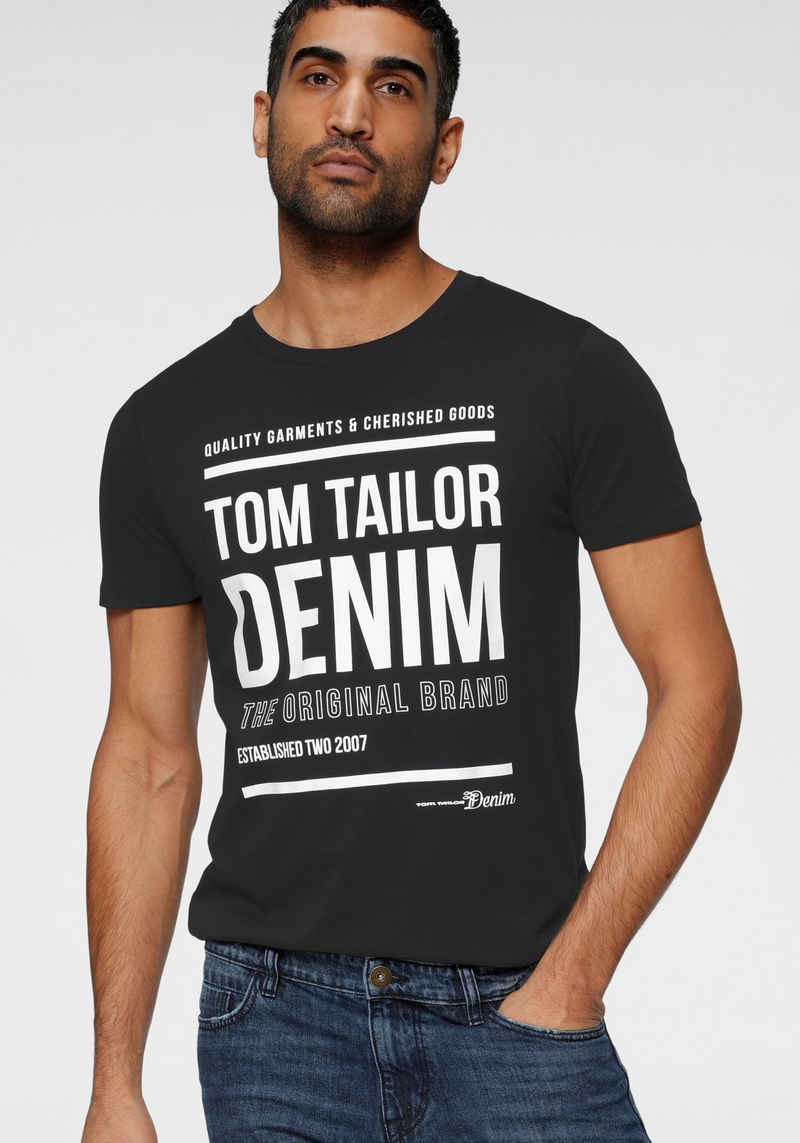 TOM TAILOR Denim T-Shirt mit Logofrontprint