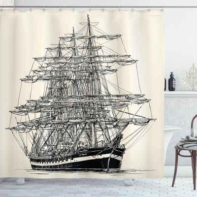 Abakuhaus Duschvorhang »Moderner Digitaldruck mit 12 Haken auf Stoff Wasser Resistent« Breite 175 cm, Höhe 200 cm, Piratenschiff Segelboot-Weinlese