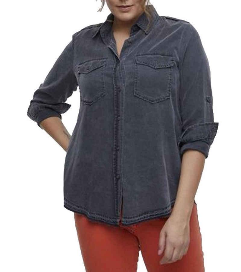 LTB Hemdbluse »LTB Simele Hemd-Bluse weich fließende Damen Bluse mit Umlegekragen Große Größen Freizeit-Hemd Grau«