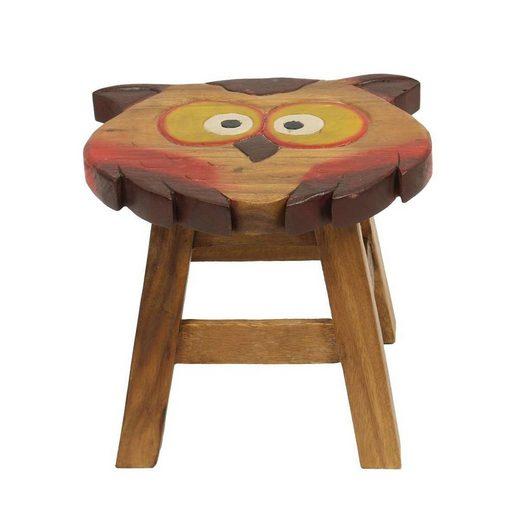 Oriental Galerie Sitzhocker »Kindermöbel Kinderhocker Hocker Stuhl 25 cm Eule« (1 St), Handarbeit