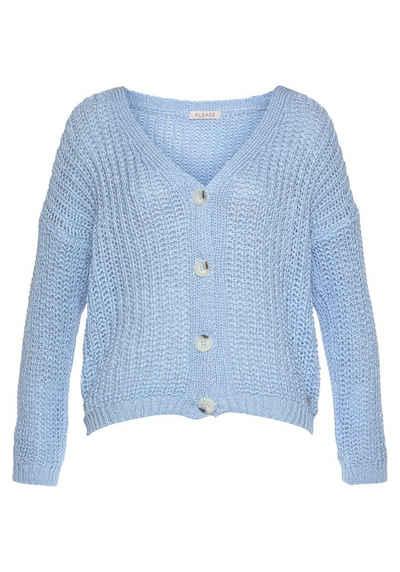 Please Jeans Cardigan »M3614« mit Rippstruktur & Knöpfen in Hornoptik