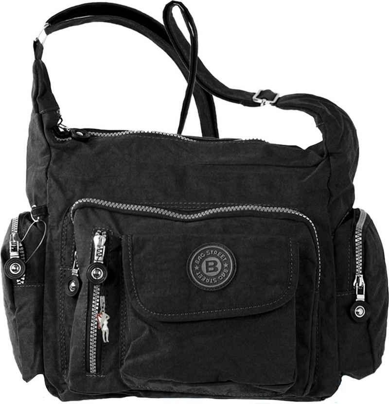 BAG STREET Schultertasche »OTJ204S Bag Street Damenhandtasche Schultertasche« (Schultertasche), Schultertasche Nylon, schwarz ca. 30cm x ca. 22cm